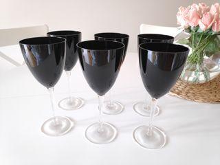 6 copas de cristal negras NUEVAS