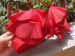 Nuevo sujetador bikini top rojo lazo volantes