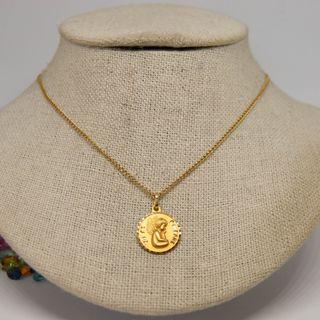 Medalla ángel 'Yo te cuidaré', con cadena, oro 18k