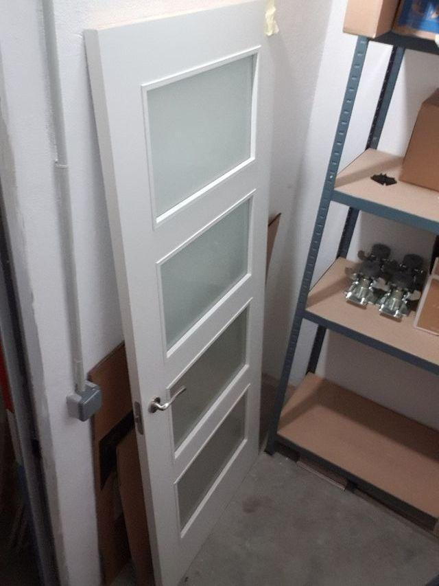 Puerta madera y cristales opacos interior de segunda mano - Puertas madera barcelona ...