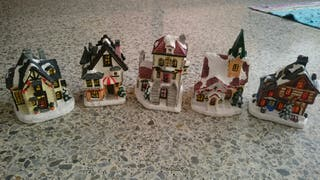5 casitas de yeso, decoración navidad