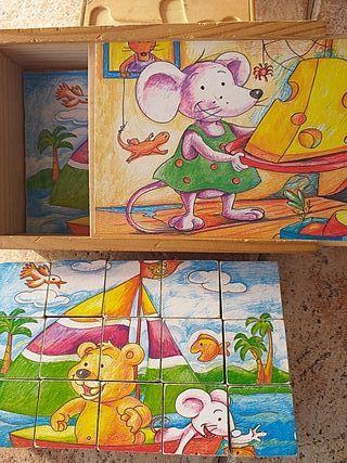 6 puzles en 1 de madera
