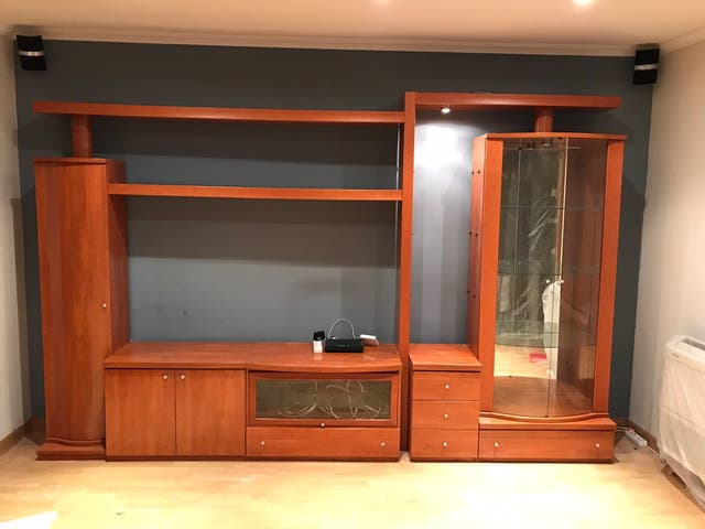 Mueble salon modular, color cerezo