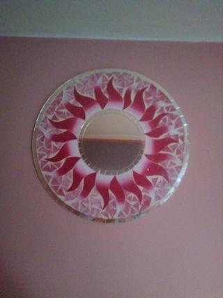 espejo redondo rosa