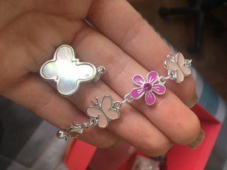 Colgante de perla y plata tous mariposa