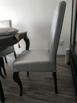 mesa y 6 sillas isabelinas en plata y wengue