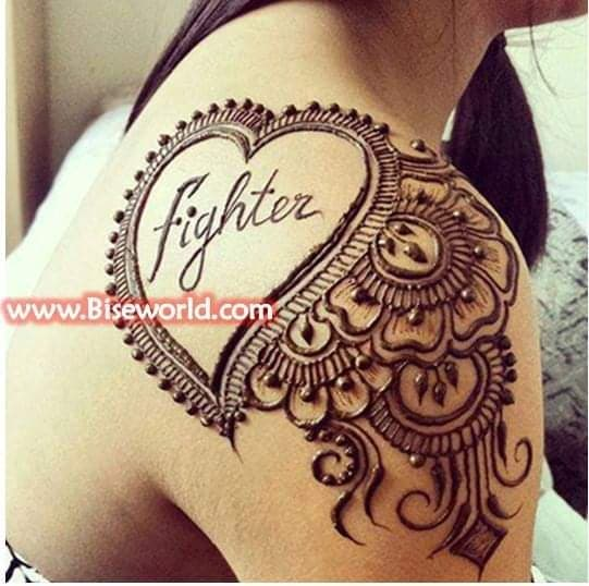 henna art on shoulder back