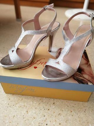 zapatos de fiesta plata