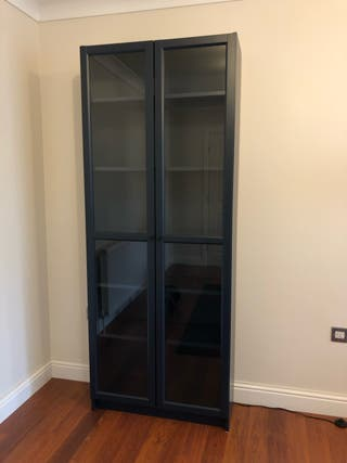 Bookcase with glass 80x30x202