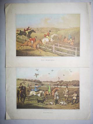 Grabados láminas antiguas de cacería inglesa
