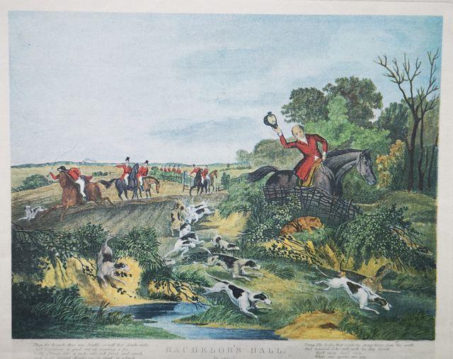 Lote de 5 láminas antiguas de cacería inglesa