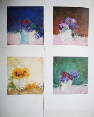 4 Láminas antiguas de flores más cartel biblioteca