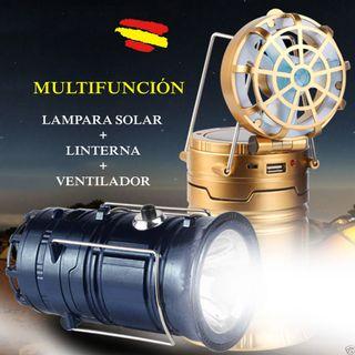 LINTERNA LED SOLAR con VENTILADOR CARGADOR MOVIL