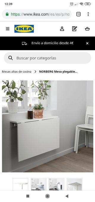 Mesa abatible pared blanca de Ikea