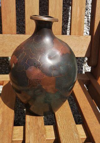A vintage metal bulbous vase by WMF