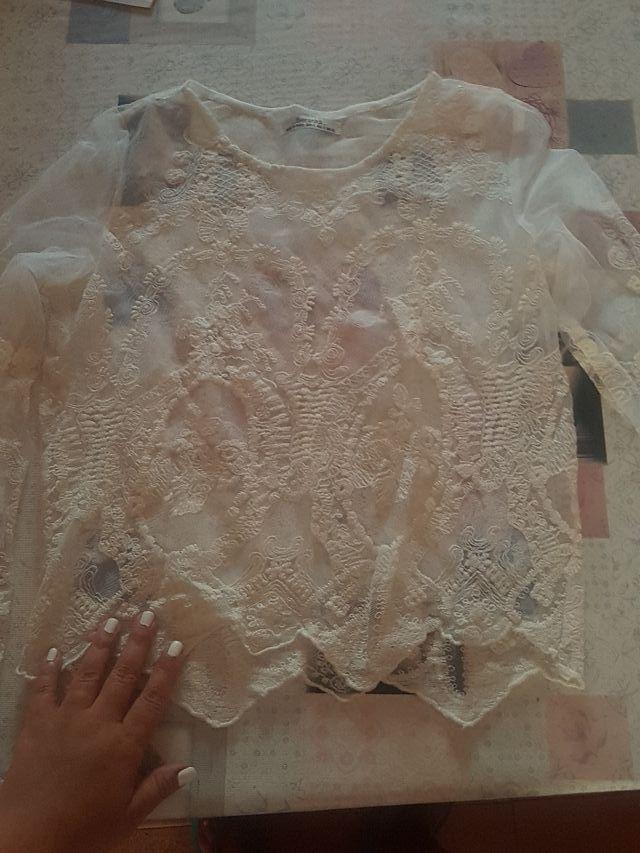 Blusa suave de encaje Blanca