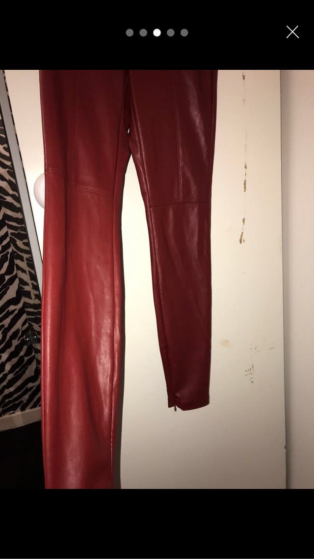 Zara red leather pants size small