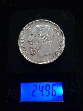 moneda de 5 francos belgas de plata 1869