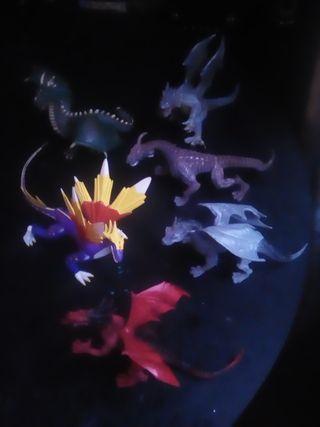 Dragones.lote 6 figuras 10 cm
