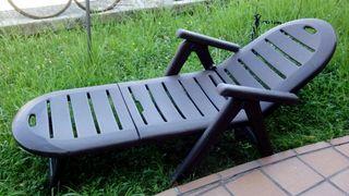 hamaca resina marron jardin reclinable
