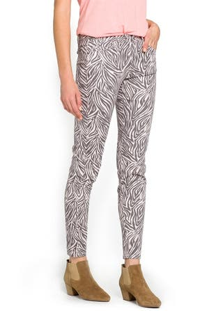 pantalón denim animal print rosa y gris talla 38