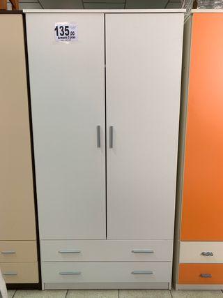 Armario 2 puertas blanco con cajones