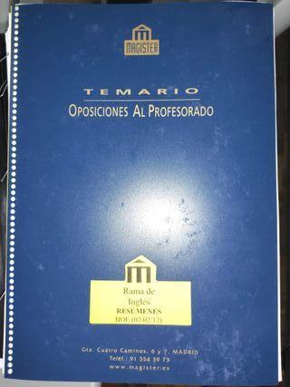 Resúmenes Magister Inglés Secundaria