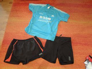 2 pantalon running trail GORE y camiseta behobia L