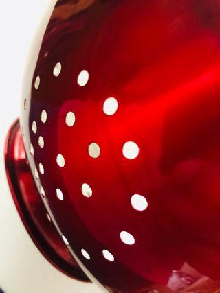 Colador pasta. Escurridor. Esmalte Rojo