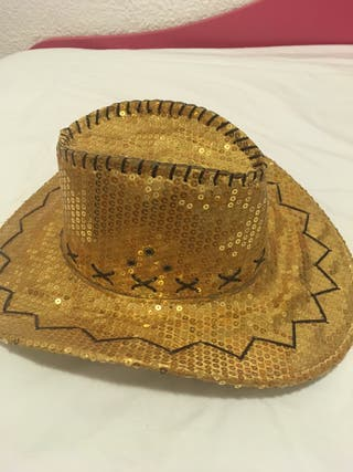 Gorro cowboy con brillantes dorados