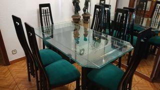 Mesa de salón de cristal y 6 sillas