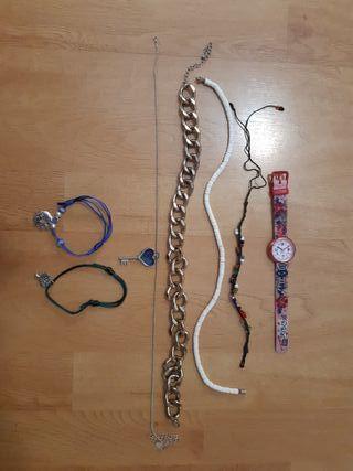 Pack pulseras, collares y reloj
