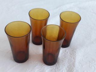 lote de 4 vasos duralex amarillo vintage