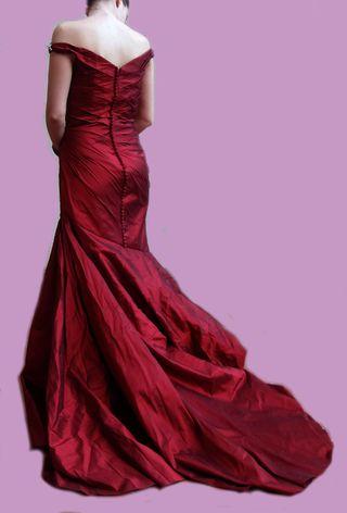 Vestido ceremonia rojo granate (boda)
