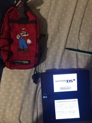 Nintendo DS Negra + cargador + mochila + lapiz