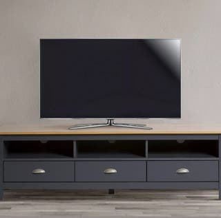 Mueble de salón TV 3 cajones de madera maciza gris
