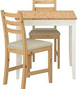 mesa con 2 sillas Lerhamn ikea