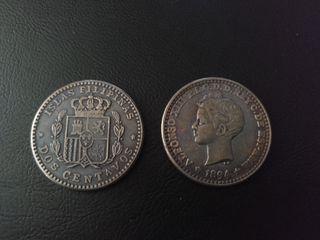replica moneda 2 cntvs 1894 Alfonso XIII Filipinas