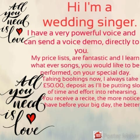 private singing lessons and wedding singer