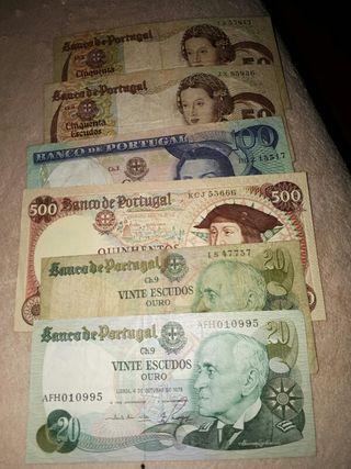 Billetes antiguos de Portugal Escudos
