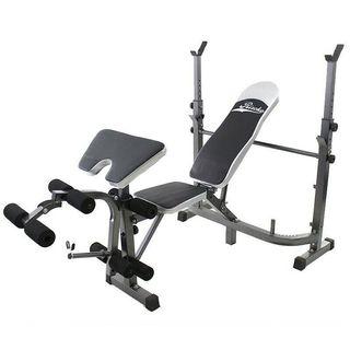 Banco de musculacion multifuncion pesas entren.