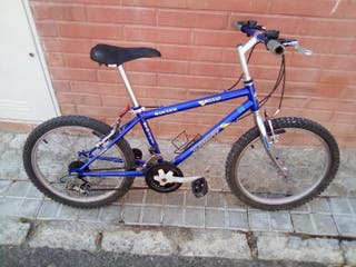 bicicleta de buen estado y pequeña azul y negro