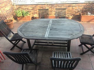 Conjunto de mesa y 6 sillas de jardín en teka
