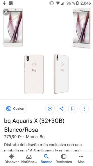 Móvil Bq Aquaris X rosa y blanco de 32 Gb.