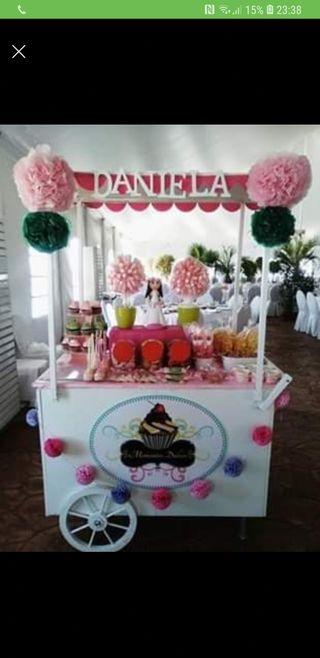 carrito para candy bar en celebraciones
