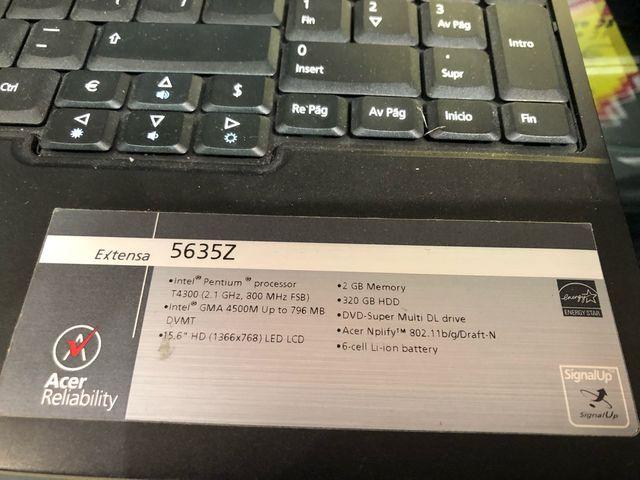 Portátiles Acer 5635Z DVD, USB 120€