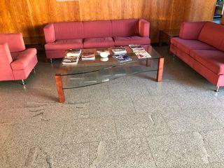 Conjunto sofás 3+2+1 mesa de cristal cent y aux