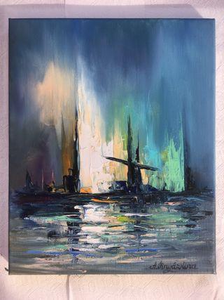 "Cuadro al óleo ""Mar de noche"" 22x27 cm."