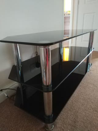 Premium TV Stand Black Tempered Glass Table Televi
