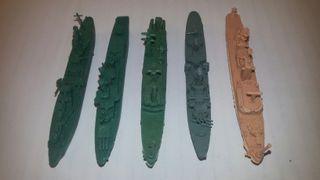 MONTA-PLEX, Lote de 5 Barcos de Guerra, años 70'.
